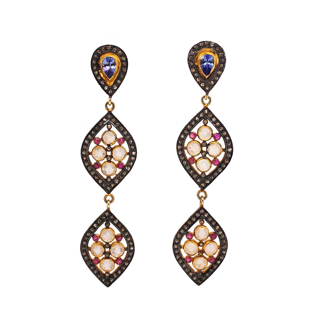 Moonstone and Black Diamond Dangle Earrings w/Tanzanite & Pink Sapphire Accents Sterling Silver | Blacy's Fine Jewelers Blacys Vault