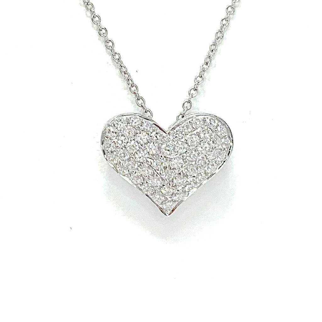 Diamond Pave Heart Necklace 48 Round Brilliant Diamonds equals to .50 ctw 18K Gold | Blacy's Fine Jewelers