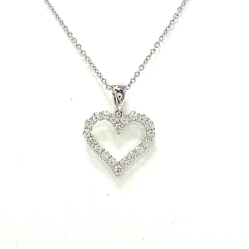 Diamond White Gold Heart Necklace 20 Round Brilliant Diamonds equals to .48 ctw 18K White Gold | Blacy's Fine Jewelers