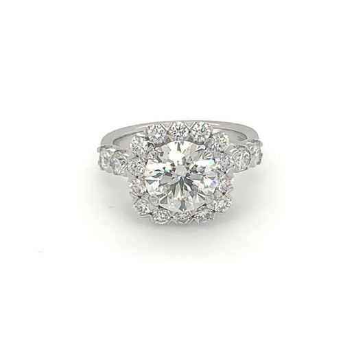 Christopher Designs Cushion Halo Diamond Ring, 18K White Gold,  Center Stone 2.52cts Triple EX Stone | Blacy's Fine Jewelers
