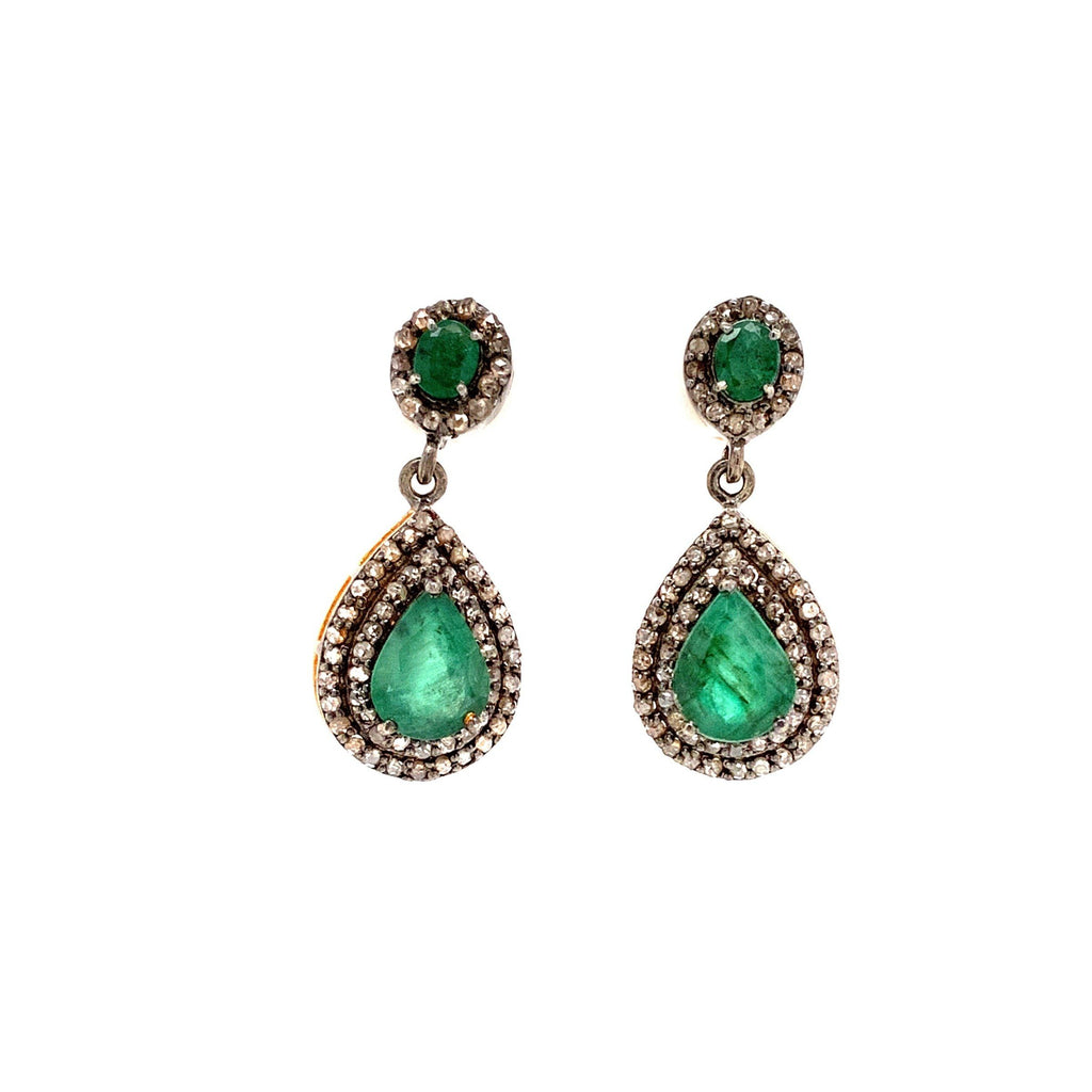 Oval And Pear Shaped Emerald With Diamond Halo Drop Earring Oxidized Silver And Gold Vermeil