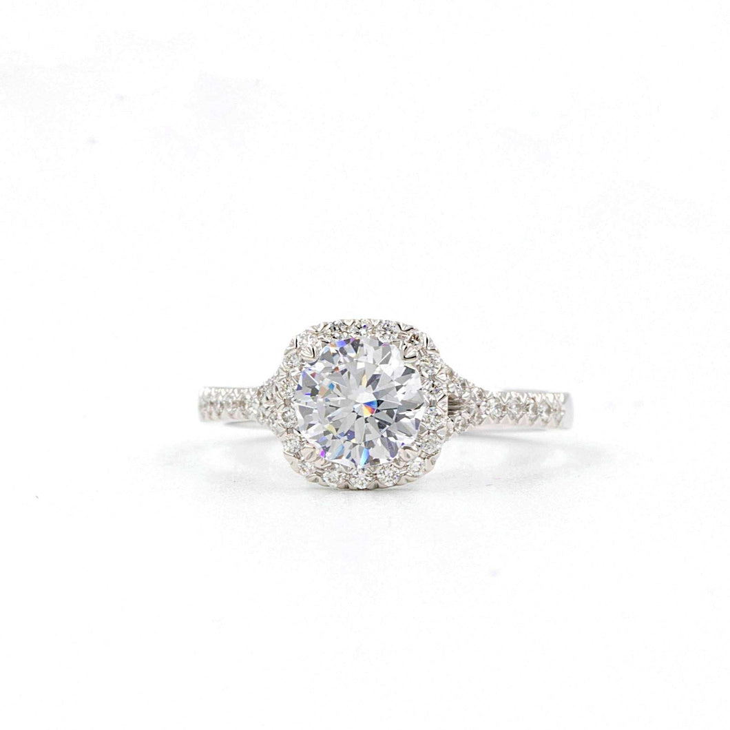 Christopher Designs Cushion Halo Semi Mounting, 18K W.G. 0.22TW of diamonds | Blacy's Fine Jewelers