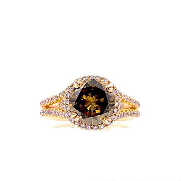 Natural Fancy Intense Cognac and Pink Diamond Halo Ring 14 kt Rose Gold | Blacy's Fine Jewelers