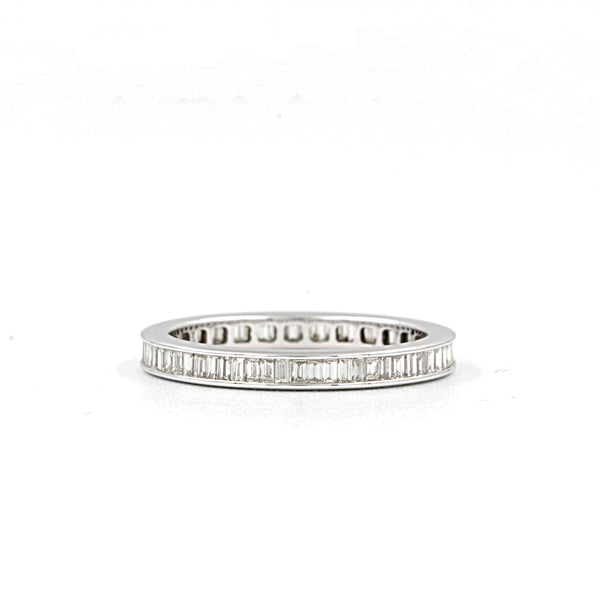 Christopher Designs Diamond Baguette Cut Eternity Wedding Band, 18K White Gold with 56 Baguettes Diamonds at 0.89tw G Clarity: SI1 | Blacy's Fine Jewelers