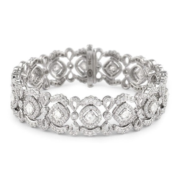 Christopher Designs Crisscut Fancy Diamond Lace Beyaz Bracelet, 18K WG 8.53ctw of Diamonds and 3.13cts of Crisscut Diamonds | Blacy's Fine Jewelers