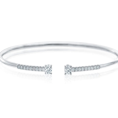 A. Link Diamond Bangle Cuff Bracelet 18 Karat White Gold | Blacy's Fine Jewelers
