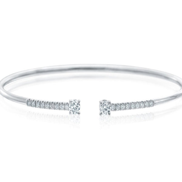 A. Link Diamond Bangle Cuff 18K White Gold 20 Round Diamond 0.48 ctw | Blacy's Fine Jewelers