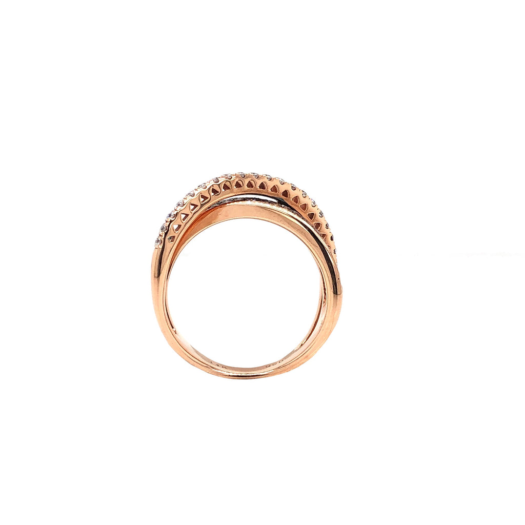 Chocolate and White Diamond Paved Rose Gold Ring 14 Kt Rose Gold 0.79 ctw | Blacy's Fine Jewelers
