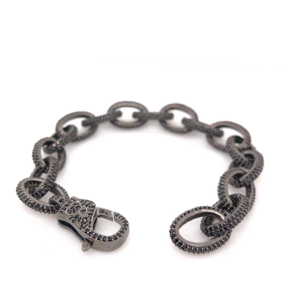 Black Diamond Oval Link Lobster Clasp Diamond Paved Bracelet 8.00 ctw Oxidized Sterling Silver | Blacy's Vault