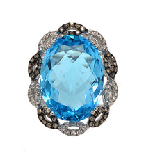 Load image into Gallery viewer, Oval Blue Topaz 11.20ctw, White and Chocolate Colored Diamond .50ctw 14K White Gold Women's Ring | Blacy's Fine Jewelers