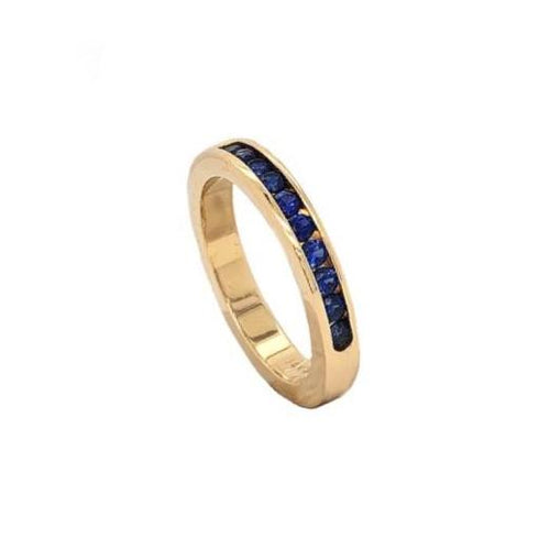 Blue Sapphire Band 10 Round Sapphire Stones 0.45 ctw 14K Yellow Gold | Blacy's Fine Jewelers