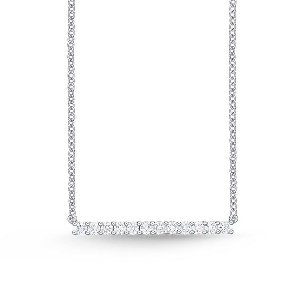 Memoire Classic Bar Necklace 12 Round Brilliant Diamonds Equal 0.29 ctw 18K White Gold | Blacy's Fine Jewelers