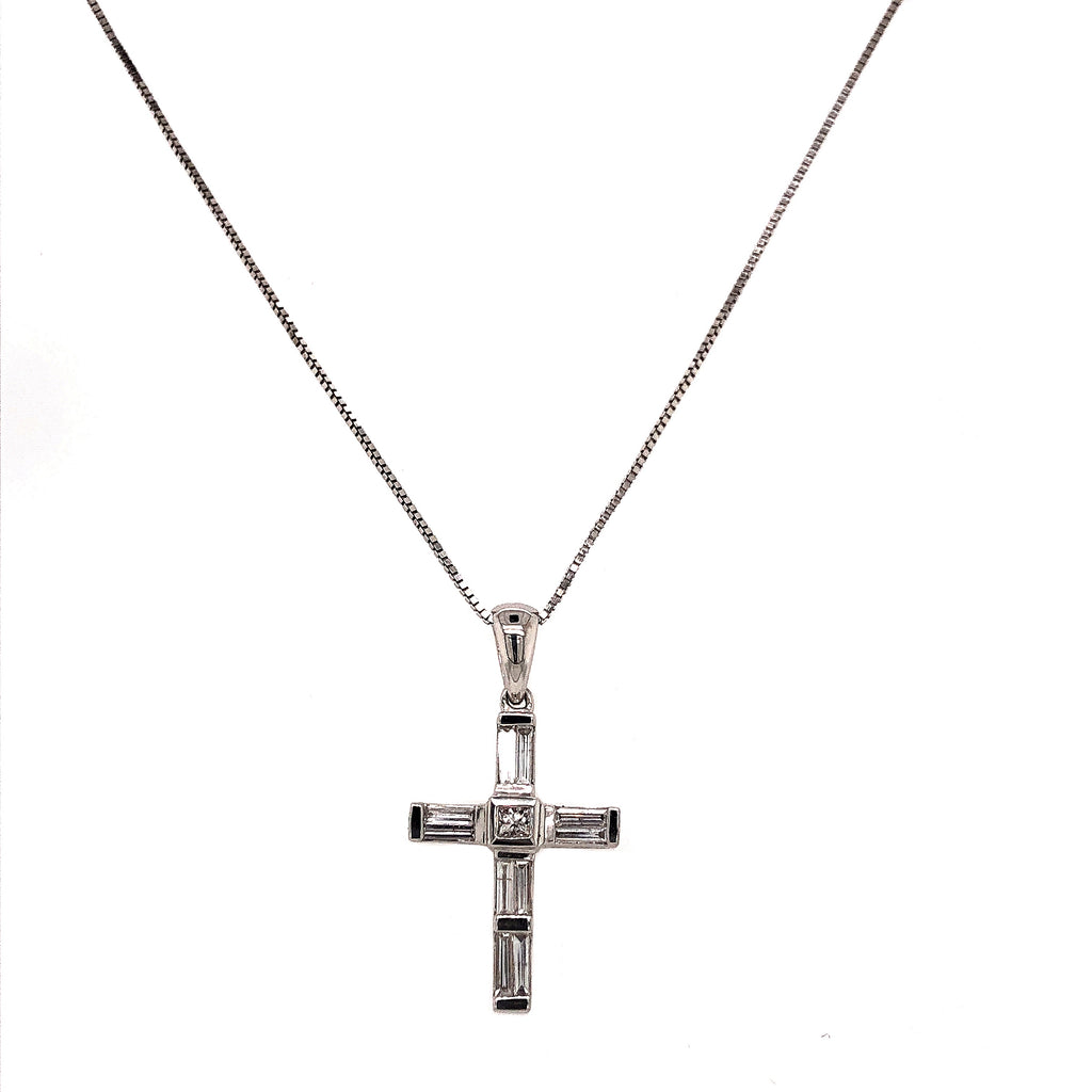 Baguette and Princess Cut Diamond Cross Pendant 18K White Gold 18 Inch Chain | Blacy's Fine Jewelers