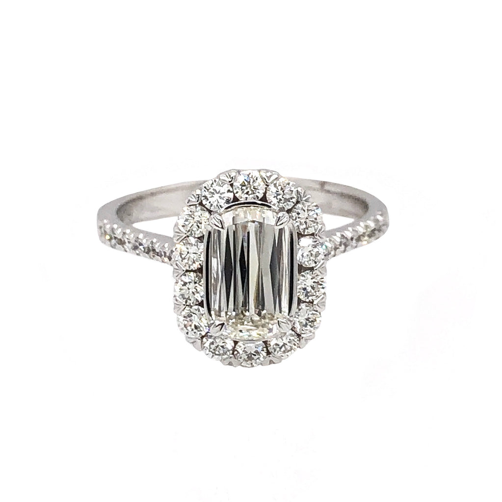 Christopher Designs L'Amour Halo Diamond Engagement Ring 1.30 ctw 18 kt White Gold. GIA | Blacy's Fine Jewelers