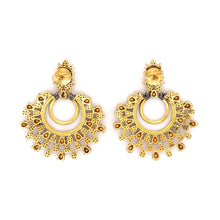 Load image into Gallery viewer, Polki Diamond Chandelier Salt and Pepper Earrings 4.55 ctw Sterling Silver and Gold Vermeil | Blacy's Fine Jewelers Blacys Vault