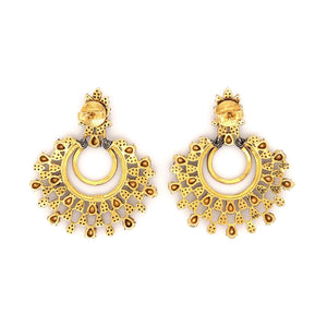 Polki Diamond Chandelier Salt and Pepper Earrings 4.55 ctw Sterling Silver and Gold Vermeil | Blacy's Fine Jewelers Blacys Vault