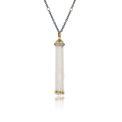 Lika Behar Domus Diamond Tassel Adjustable Necklace .26 ctw 24K Gold Dome and Oxidized Silver | Blacy's Fine Jewelers