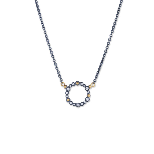 Lika Behar Collection Dylan Round Pendant Necklace 0.24 ctw 24K Gold and Oxidized Silver | Blacy's Fine Jewelers