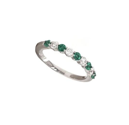 Classic Emerald and Diamond Straight Line Shared Prong Band 14K White Gold | Blacy's Fine Jewelers