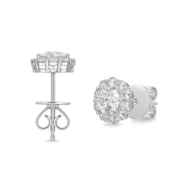 Memoire 18K White Gold Blossom Collection Diamond Earrings 22 Diamonds equals 1.52ctw | Blacy's Fine Jewelers