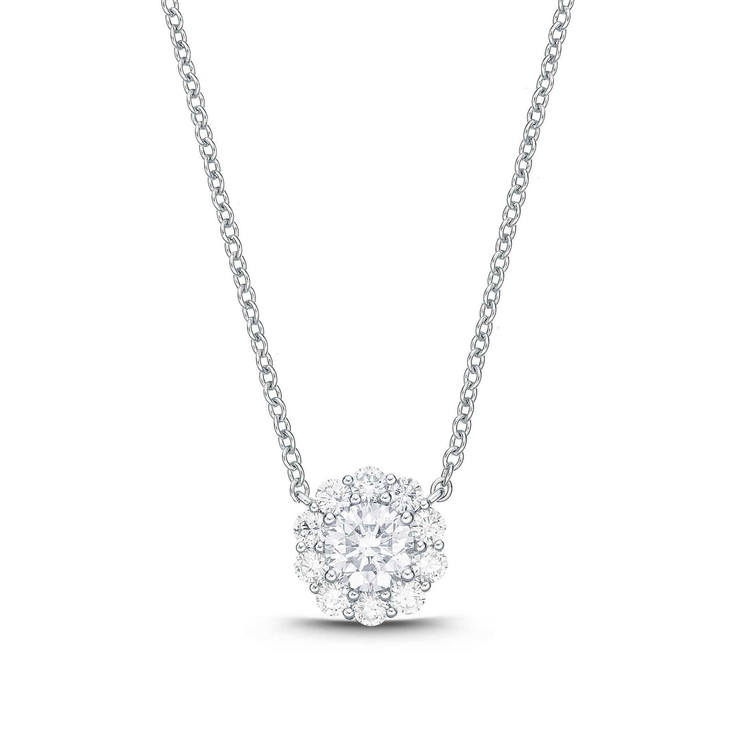 Memoire Blossom Collection Diamond Necklace Diamonds Equal .25ctw 18K White Gold | Blacy's Fine Jewelers