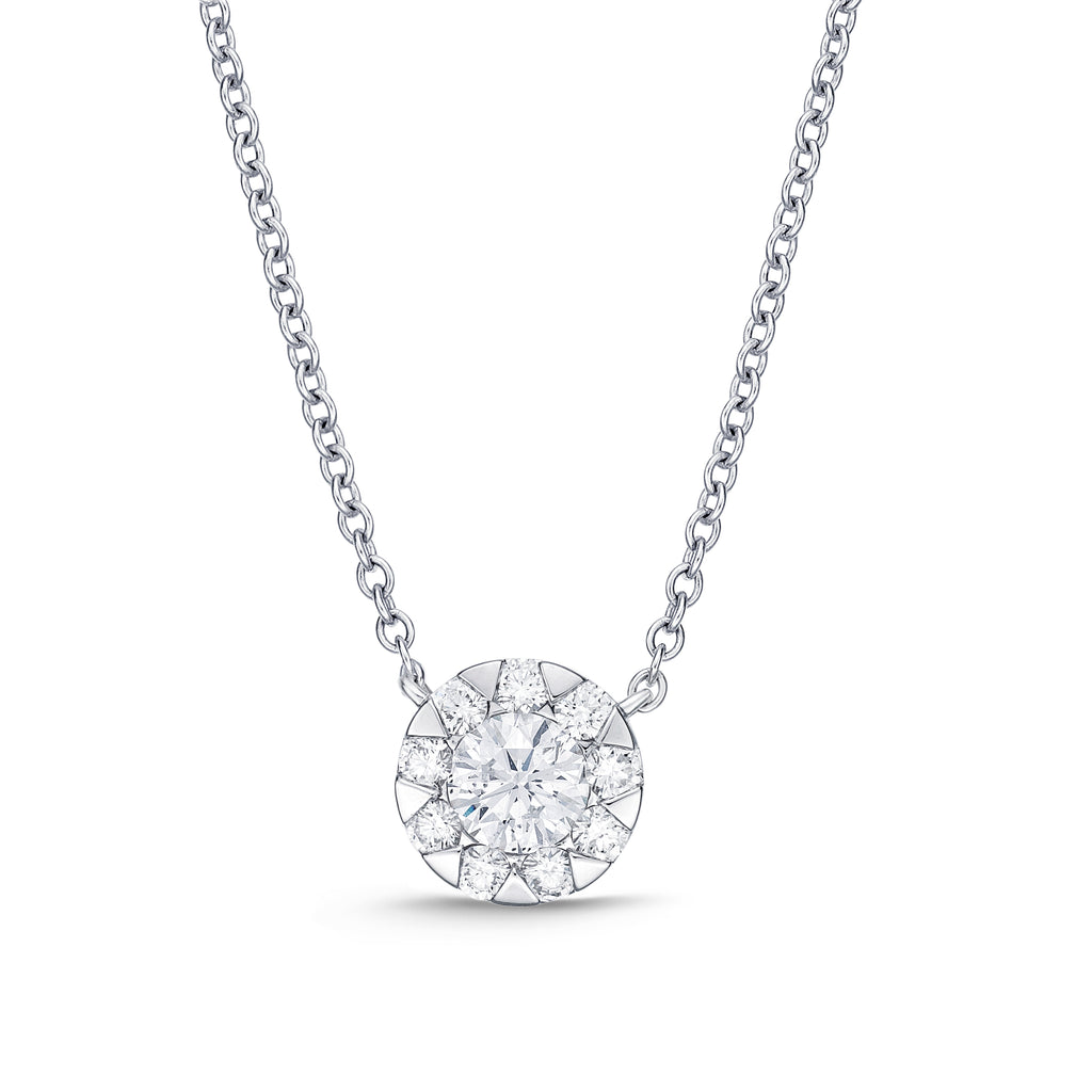 Memoire Diamond Bouquet Necklace 10 Stones Look Like 2 ctw But Total to .30 ctw 18K White Gold | Blacy's Fine Jewelers