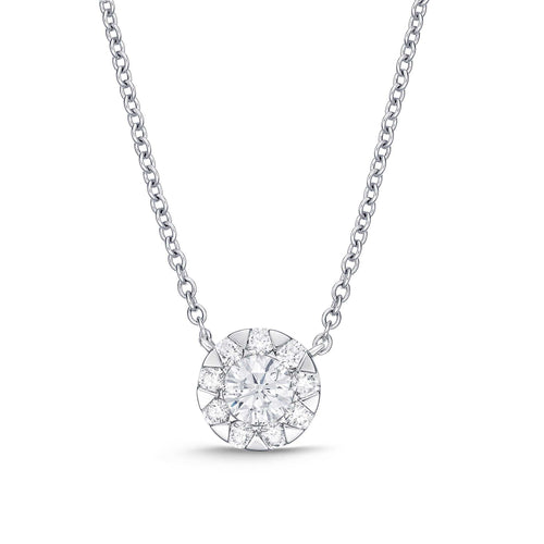 Memoire Bouquet Collection Pendant 10 Round Brilliant Diamonds Equals .67ctw 18K White Gold | Blacy's Fine Jewelers