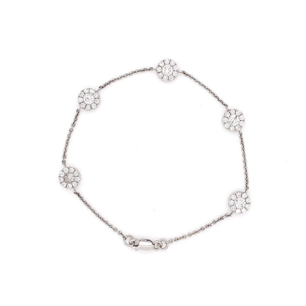 Chain Linked 5 Halo Double Sided Round Brilliant Cut Diamond Bracelet 2.29 ctw 18K White Gold | Blacy's Vault