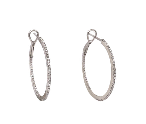 Thin Pave Diamond Hoop Inside and Outside Diamonds 0.35 ctw 18K White Gold