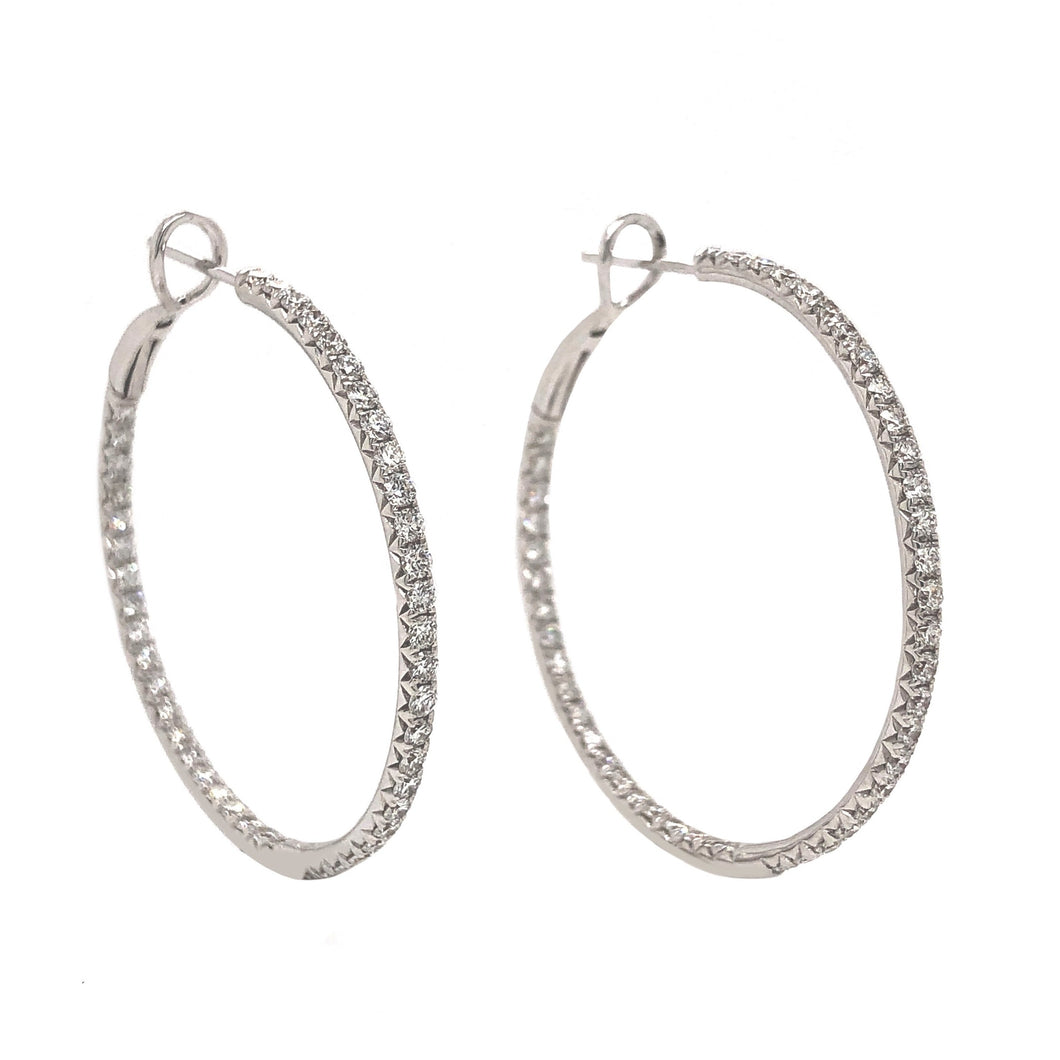Round Brilliant Cut Diamond Hoop Earrings 18K White Gold