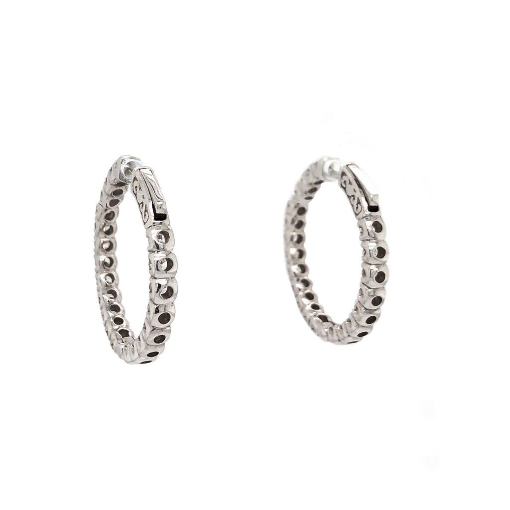 Inside and Outside Diamond Hoop Earrings 2.60ctw 18K White Gold | Blacy's Fine Jewelers