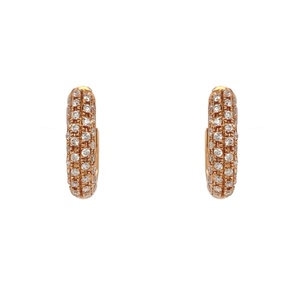 Diamond Pavée 4 Row Huggie Hoop Earrings 18K Rose Gold 0.69 cts, t.w