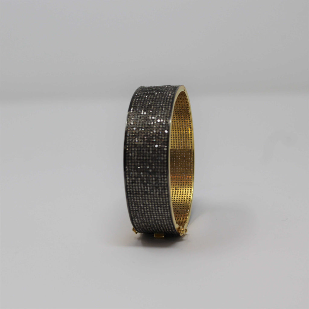 Sterling Silver Yellow Gold Vermeil Diamond Bangle Bracelet | Blacy's Fine Jewelers