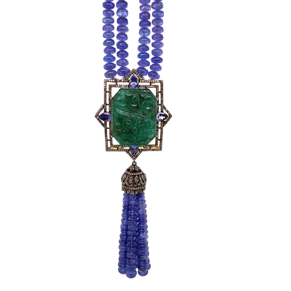 Carved Emerald W/Floral Design, Diamond, and Tanzanite Beaded Tassel Necklace | Blacy's Vault