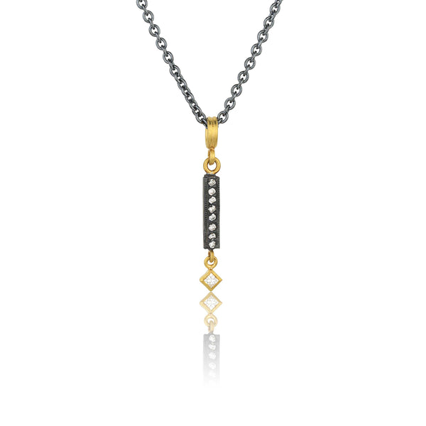 Lika Behar Kelly Vertical Emerald-Cut Diamond Bar Necklace 24K Yellow Gold and Oxidized Black Silver | Blacy's Fine Jewelers