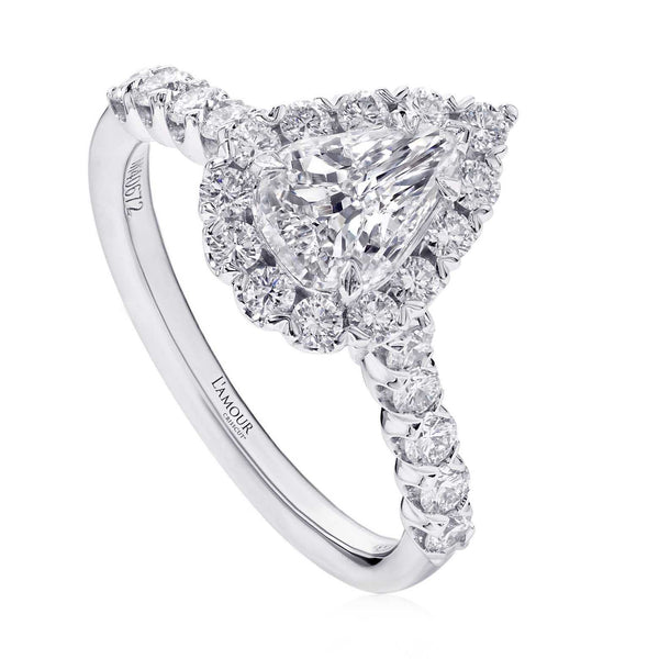 0.84ct Christopher Designs L' Amour Crisscut Pear 0.84ct Diamond Ring on 18K White Gold featuring a halo of 26 DIamonds 0.70ctw | Blacy's Fine Jewelers