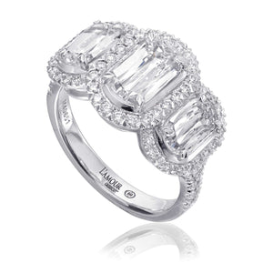 Christopher Designs 3 stone L'Amour Halo Diamond Ring | Blacy's Fine Jewelers