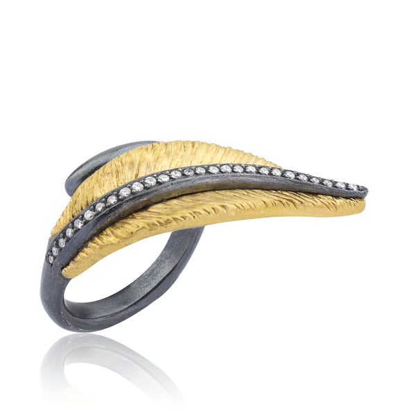 Lika Behar 24K Laureir Fusion Gold Leaf and Oxidized Sterling Silver Veind Ring 0.18 ctw | Blacy's Vault