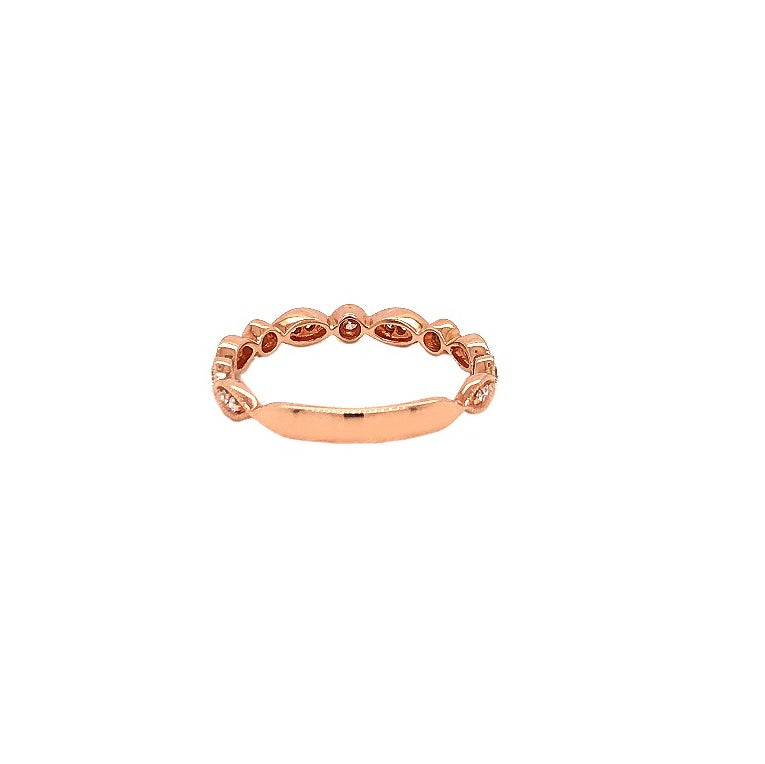 Alternating Shaped Marquise and Round Stackable Band Round Brilliant Cut Diamonds 0.20ctw 14K Rose Gold | Blacy's Fine Jewelers
