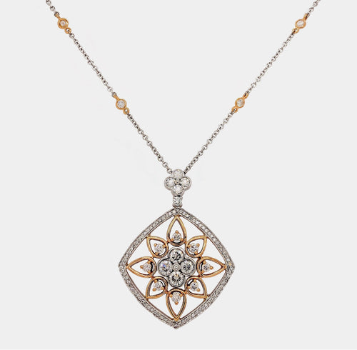 Fancy Pierced-out  Diamond Necklace Brilliant Cut Round Diamonds 2.27 ctw 18K White and Rose Gold. | Blacy's Fine Jewelers Blacys Vault