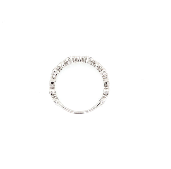 Off Center Small and Large Circle Band Round Brilliant Cut Diamonds 0.45 ctw 14K White Gold | Blacy's Fine Jewelers Blacys Vault
