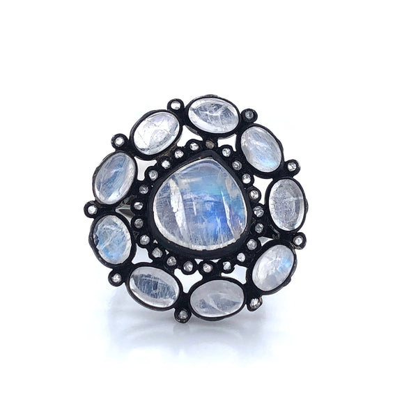 Cabochon Moonstones with Halo Bezel Set Diamonds Oxidized Silver Ring | Blacy's Fine Jewelers