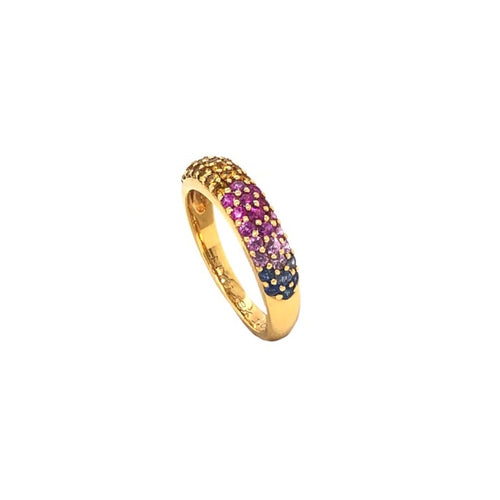 Mayfield  Ombre Corrundum 3 Row Paved Band Blue, Pink, Yellow, and Green Sapphire 18K Yellow Gold | Blacy's Fine Jewelers