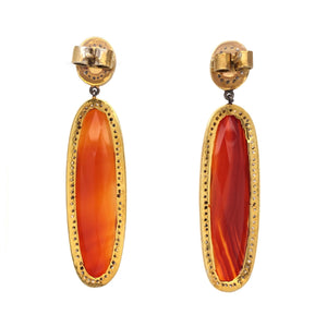 Black Diamond, Carnelian and Opal Dangle Earring Sterling Silver and Gold Vermeil | Blacy's Fine Jewelers Blacys Vault