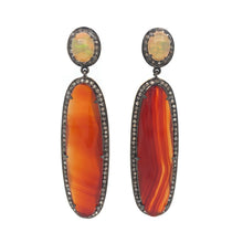Load image into Gallery viewer, Black Diamond, Carnelian and Opal Dangle Earring Sterling Silver and Gold Vermeil | Blacy's Fine Jewelers Blacys Vault