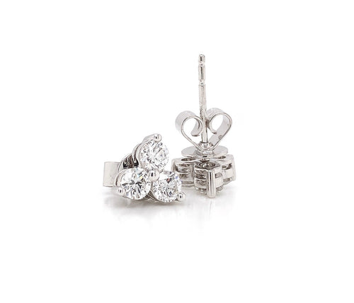 Memoire Multi-Stone Diamond Studs 0.91 ctw 18K White Gold