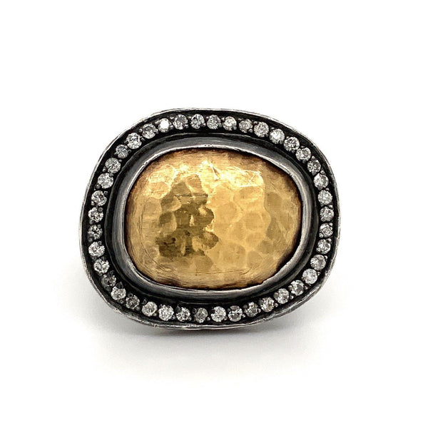 Lika Behar Reflections Ring Diamonds Equals 0.49 ctw 24K Gold and Oxidized Sterling Silver