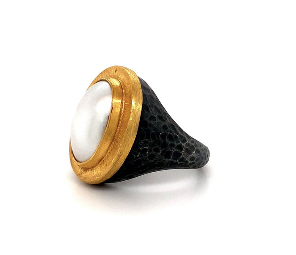 Lika Behar Mabe Pearl Pompei Ring 24K And Oxidized Silver