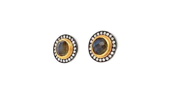 Lika Behar NIGHTFALL Cabochon Labradorites 2.14 cts and Diamond Studs 24K And Oxidized Silver
