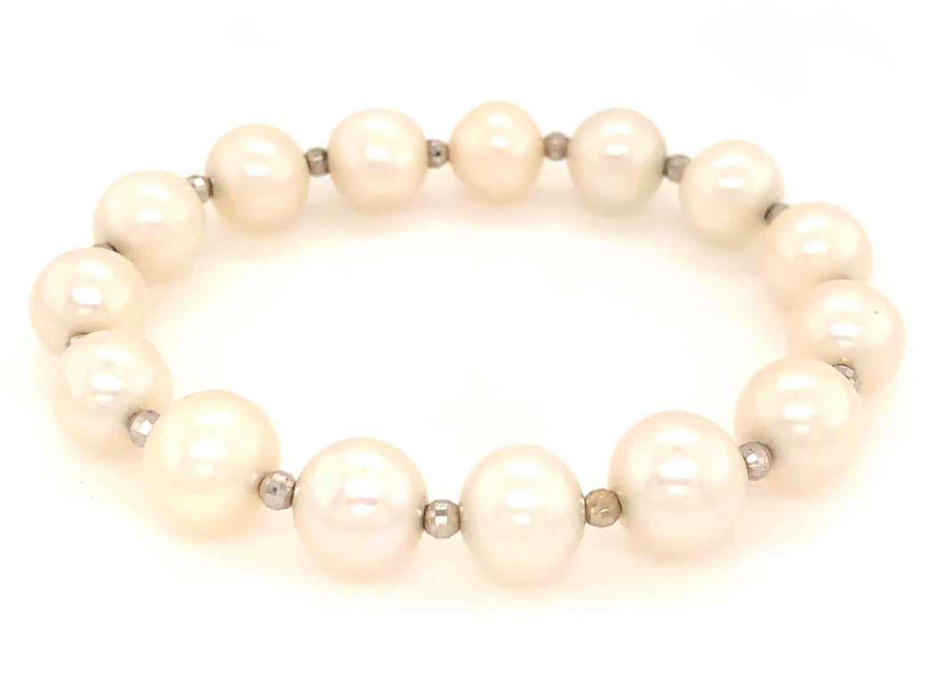 White Fresh Water Pearl Bracelet with 14kt White Gold Multifaceted 3mm Beads on Stretchable Band | Blacy's Vault